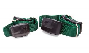 2 green computer dog fence collars
