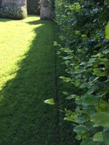 dog fence trencher leaves a small groove in the turf