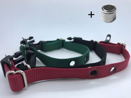 dog fence spare collar straps red, black and green